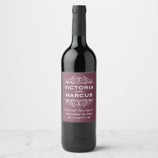 Burgundy Red Wedding Wine Bottle Favour Wine Label