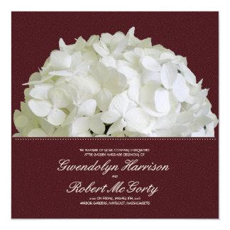 Burgundy Red Wine Hydrangea Garden Wedding 13 Cm X 13 Cm Square Invitation Card