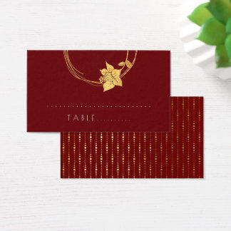 Burgundy Red WineFlower Gold Botanical Table Card