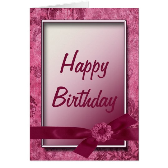 Burgundy Ribbon & Flowers Happy Birthday Card