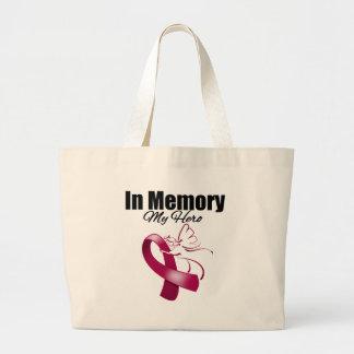 Burgundy Ribbon In Memory of My Hero Jumbo Tote Bag