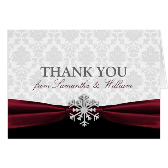Burgundy Ribbon Thank You Card