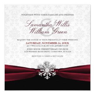 Burgundy Ribbon Winter Wedding Invitation