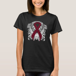 Burgundy Ribbon with Wings T-Shirt