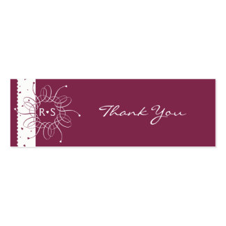 Burgundy Romantic Rosette Wedding Party Thank You Pack Of Skinny Business Cards