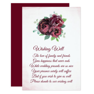 Burgundy Rose Bouquet Wedding Wishing Well Cards