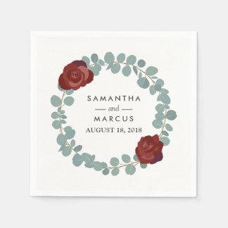Burgundy Rose Eucalyptus Wreath Greenery Wedding Disposable Napkin