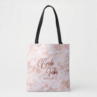 Burgundy & Rose Gold Marble Bride Tribe Monogram Tote Bag