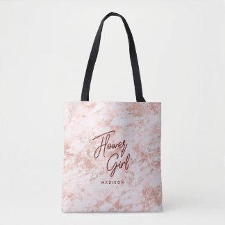 Burgundy & Rose Gold Marble Flower Girl Monogram Tote Bag
