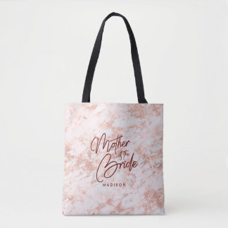 Burgundy & Rose Gold Marble Mother of the Bride Tote Bag