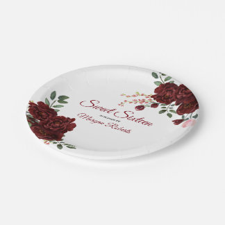 Burgundy Rose Romantic Sweet 16 Birthday Party Paper Plate