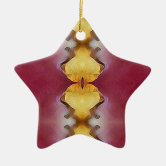 Burgundy  Rose Yellow Modern Chic Pattern Ceramic Ornament