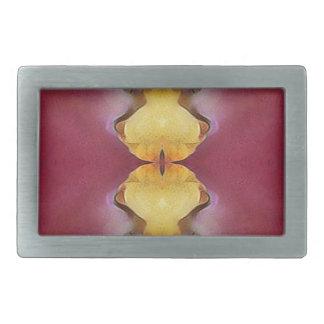 Burgundy  Rose Yellow Modern Chic Pattern Rectangular Belt Buckle