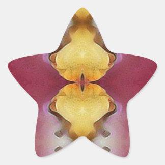 Burgundy  Rose Yellow Modern Chic Pattern Star Sticker