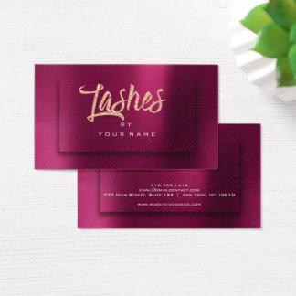 Burgundy RoseGold Metallic Typograph Makeup Lashes Business Card