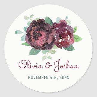Burgundy Roses Watercolor Wedding Stickers