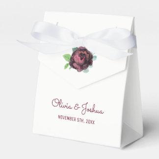 Burgundy Roses Wedding Favor Boxes