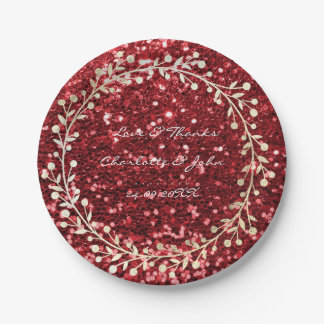 Burgundy Rube Red  Foxier Gold Wreath Garland 7 Inch Paper Plate