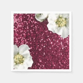 Burgundy Rubin Pink Jasmin Glitter Sequin Sparkl Disposable Serviette