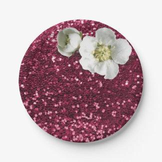 Burgundy Ruby Floral White Jasmine Glitter 7 Inch Paper Plate