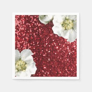 Burgundy Ruby Red  Jasmin Glitter Sequin Sparkl Disposable Napkin