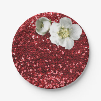 Burgundy Ruby Red White Jasmine Glitter 7 Inch Paper Plate