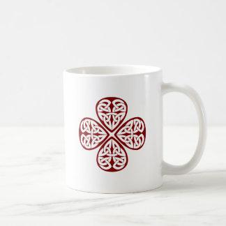 burgundy shamrock celtic knot mug