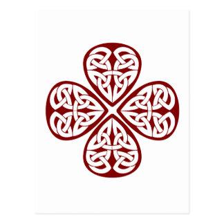 burgundy shamrock celtic knot postcard
