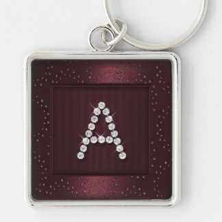 Burgundy Shimmer and Sparkle with Monogram Key Chain