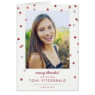 Burgundy & Silver Confetti Photo Thank You Card