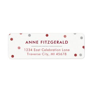 Burgundy & Silver Confetti Return Address Labels