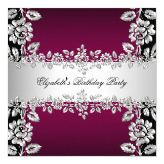 Burgundy Silver Floral Black Birthday Party 13 Cm X 13 Cm Square Invitation Card