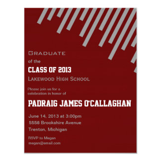Burgundy & Silver Graduation Invitation