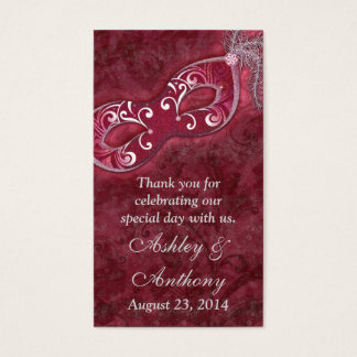 Burgundy Silver Masquerade Wedding Favour Tags