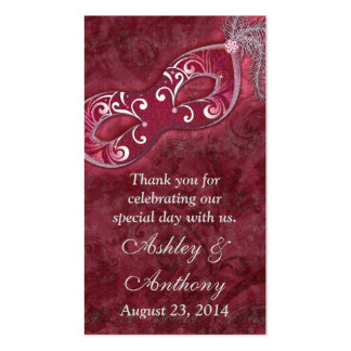 Burgundy Silver Masquerade Wedding Favour Tags Pack Of Standard Business Cards