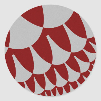 Burgundy Silver Scales Large Round Stickers