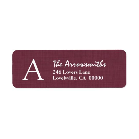 BURGUNDY Simple Monogram A or Any Initial A25 Return Address Label