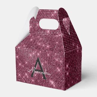 Burgundy Sparkle Monogram - Birthday Party Favor Favour Box