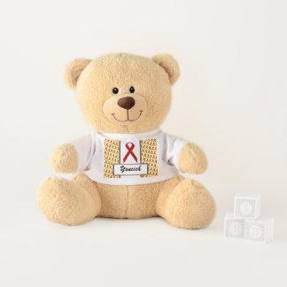 Burgundy Standard Ribbon by Kenneth Yoncich Teddy Bear