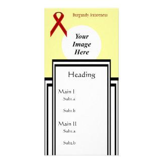 Burgundy Standard Ribbon Template Photo Card Template