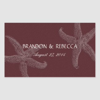Burgundy Starfish Wedding Water Bottle Wrapper Rectangular Sticker
