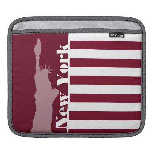 Burgundy Stripes; New York iPad Sleeve
