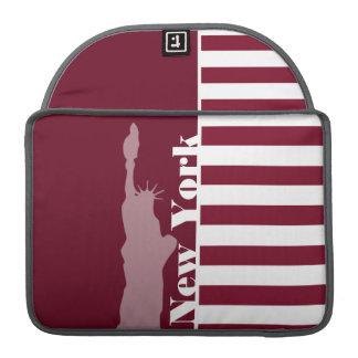Burgundy Stripes; New York Sleeves For MacBook Pro