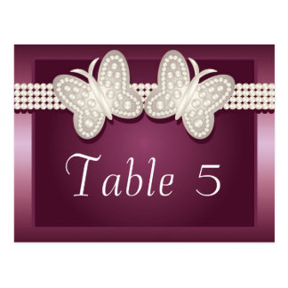 Burgundy Studded Butterfly Wedding Table Number Postcard
