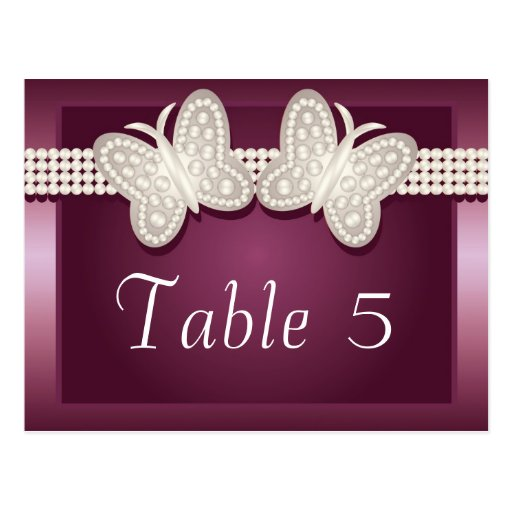 Burgundy Studded Butterfly Wedding Table Number Post Cards
