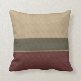 Burgundy Tan Colorblock Pattern Throw Pillow
