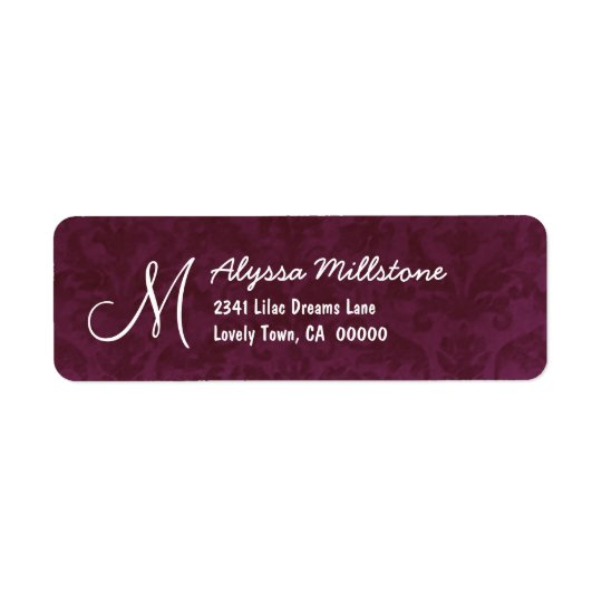 BURGUNDY Textured Monogram Address Label