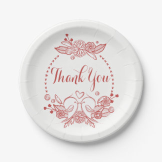 Burgundy Thank You Red Lovebirds Floral Wedding Paper Plate