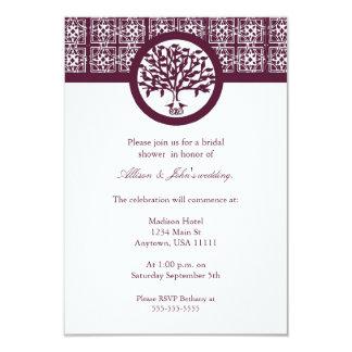 Burgundy Tree Emblem Bridal Shower Invitation