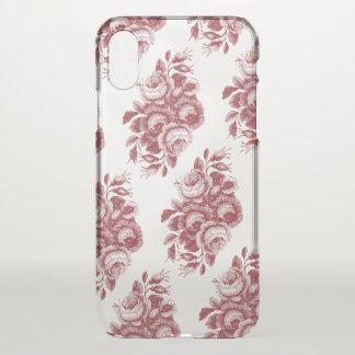 Burgundy Vintage Boho Rose Pattern iPhone X Case